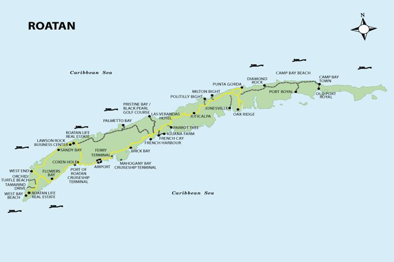 map of roatan