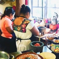 traditional mayan women in the kitchen