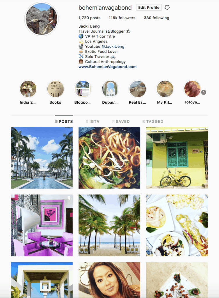 travel and food instagram with over 100,000 followers