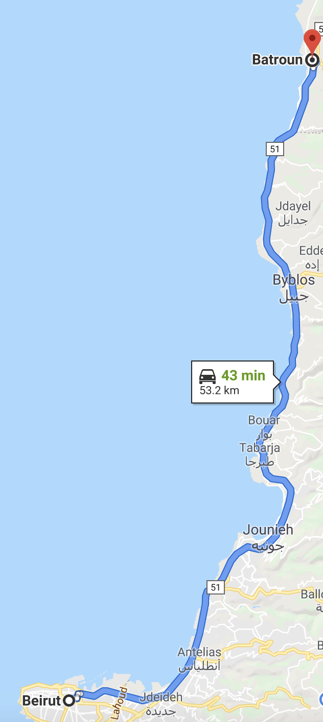 beirut to batroun map